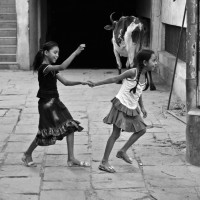 Girls playing, India